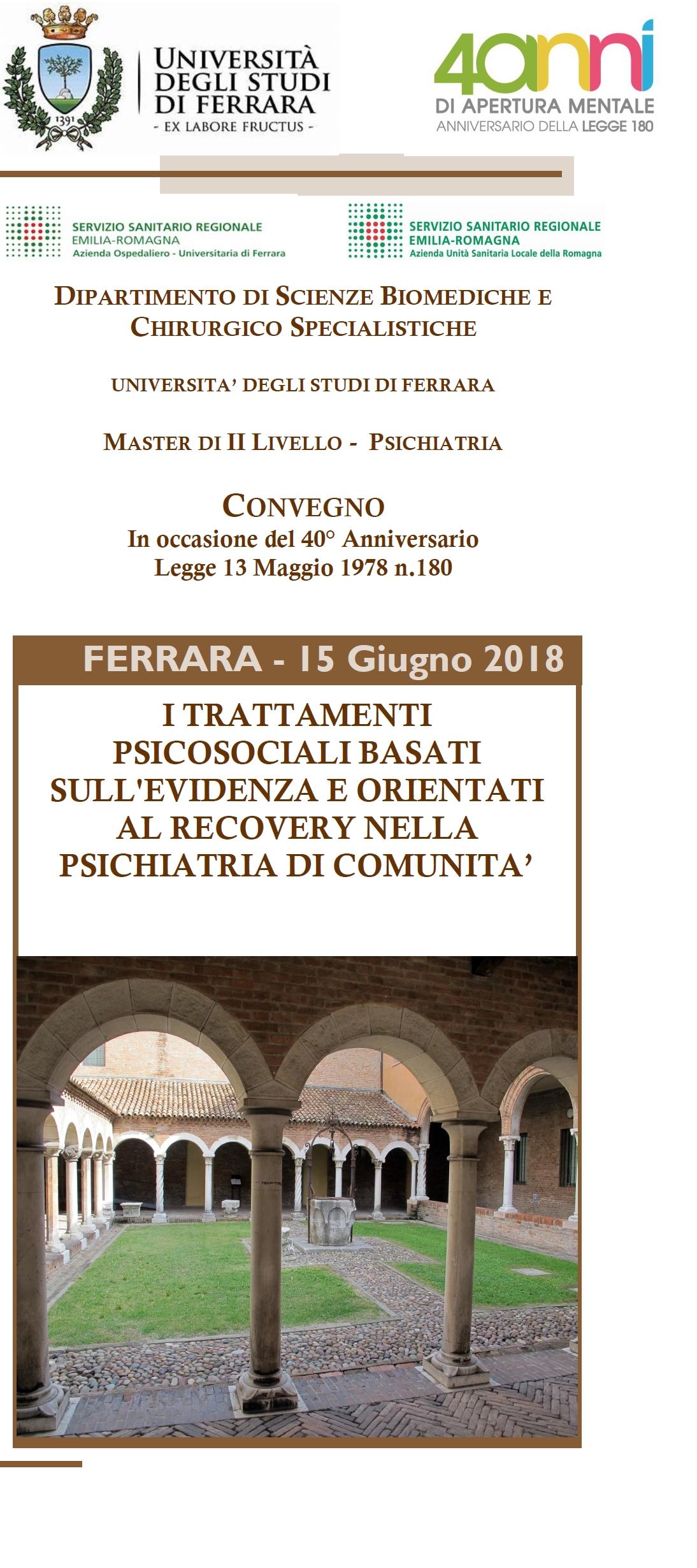 """Congresso: """"I TRATTAMENTI PSICOSOCIALI BASATI SULL'EVIDENZA E ORIENTATI AL RECOVERY NELLA PSICHIATRIA DI COMUNITA'"""" – Ferrara, 15 giugno 2018"""