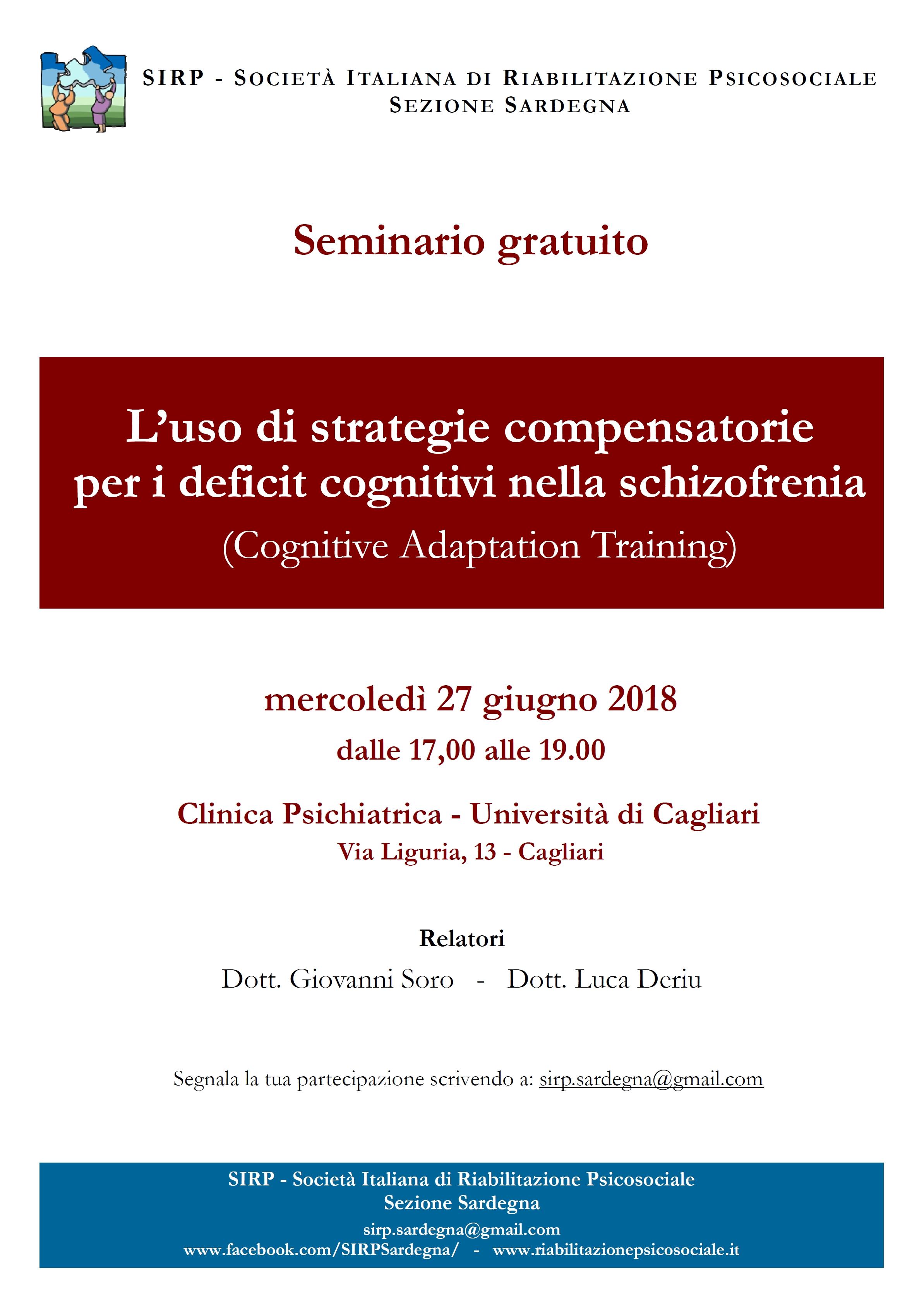 """Seminario gratuito SIRP – Sezione Sardegna: """"L'uso di strategie compensatorie per i deficit cognitivi nella schizofrenia"""" – Cagliari, 27 giugno 2018"""
