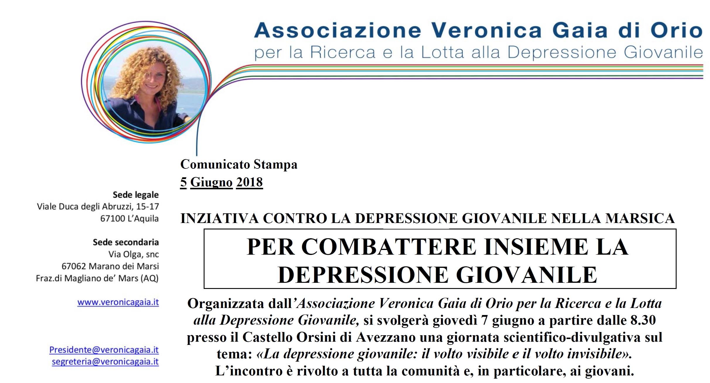 Un convegno ad Avezzano sulla depressione giovanile – 7 giugno 2018