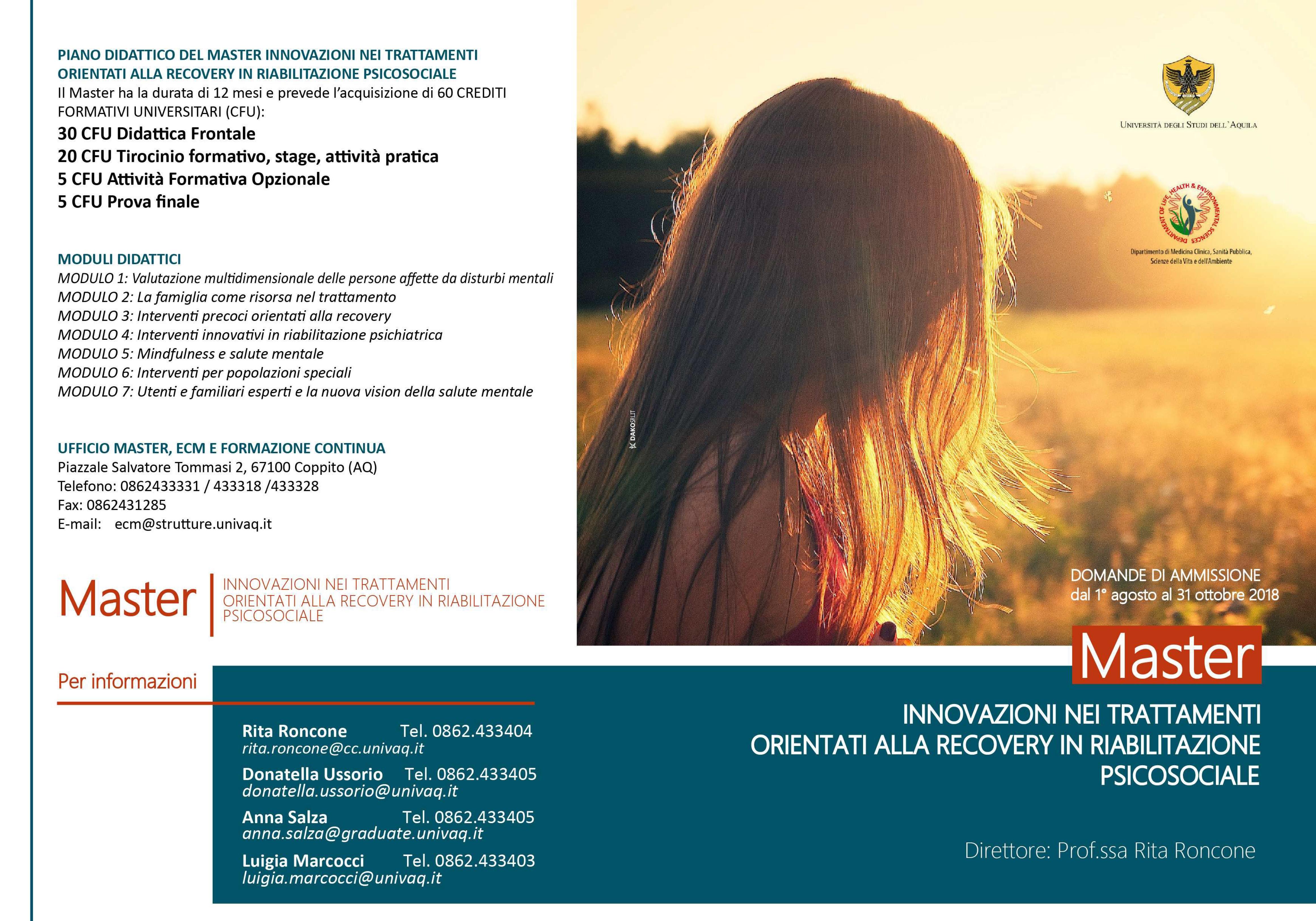 """Master """"Innovazione nei trattamenti orientati alla recovery in riabilitazione psicosociale"""" – Università dell'Aquila"""