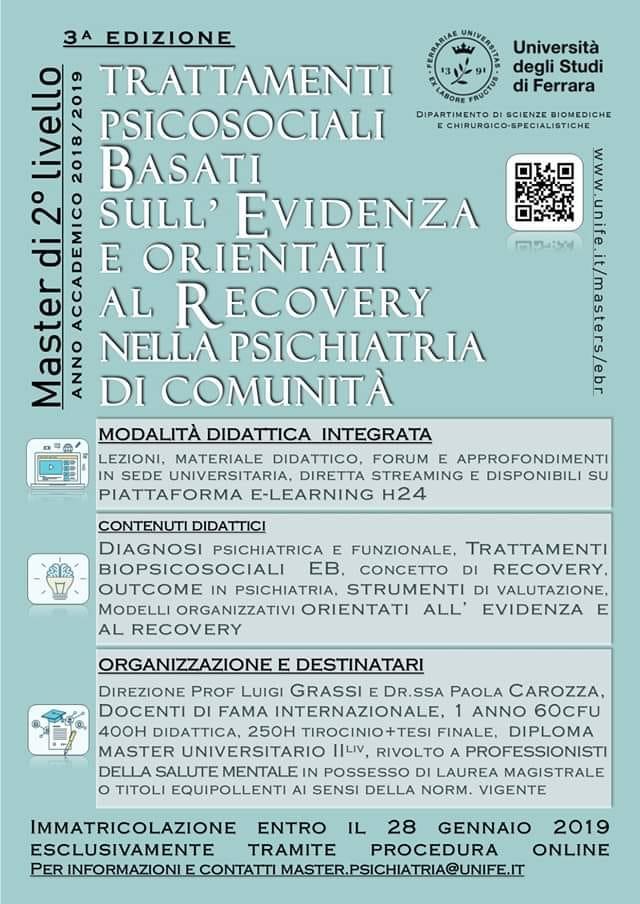 """Master di 2° livello in """"Trattamenti psicosociali basati sull'evidenza e orientati al recovery nella psichiatria di comunità"""""""